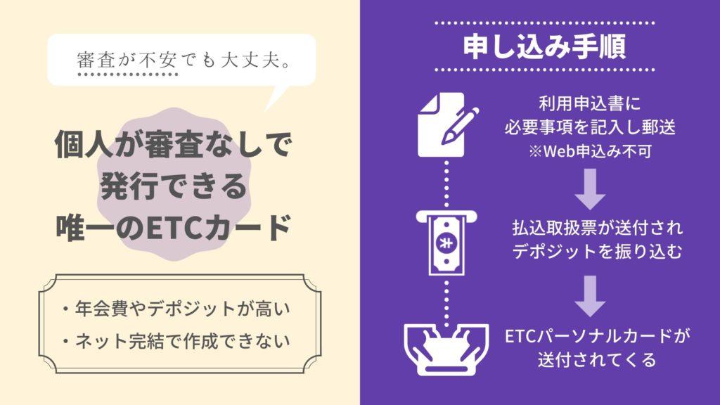 審査なしで発行できる個人用ETCカードはETCパーソナルカードのみ