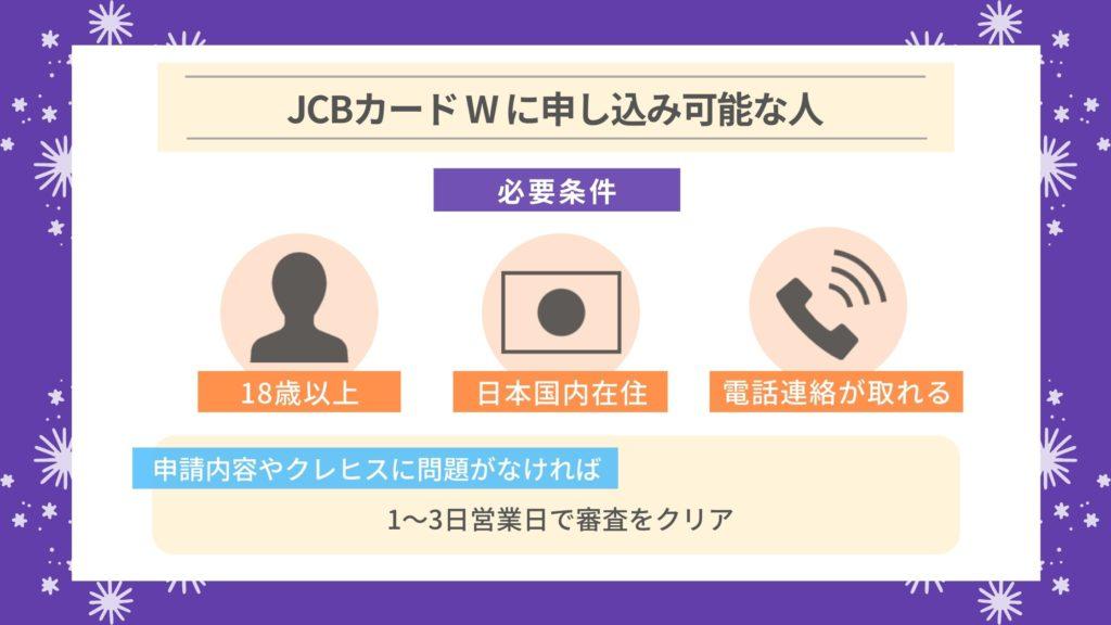 JCBカード Wの審査難易度・審査にかかる時間